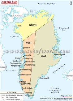 Political map of Greenland illustrates the surrounding countries with international borders, 4 municipalities boundaries with their capitals and the national capital. Greenland Map, Kingdom Of Denmark, General Knowledge Facts, Country Maps, France, Faroe Islands, Antarctica, National Geographic, Iceland