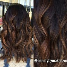 brown hair, chocolate brown hair, waves, balayage, low lights.