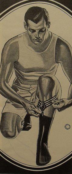 1940s Men's Fashion Illustration Tank Top Boxer Shorts Underwear Sock Garters Man by Christian Montone, via Flickr