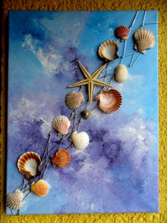 3D Mixed Media Art Picture, Painting On Canvas With Real Seashells