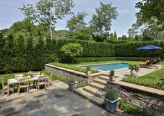 Stone Walls and Steps East End Landscape Projects Sloped Backyard Landscaping, Backyard Retaining Walls, Terraced Backyard, Small Backyard Pools, Sloped Garden, Backyard Garden Design, Swimming Pools Backyard, Backyard Patio, Pool Landscape Design