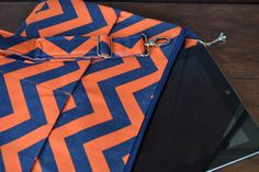 """I pad cover and removable cross body strap 14 x 10"""" case, shoulder strap,  zipper top  Navy Blue and Orange Chevron Print,  by Darby Mack"""