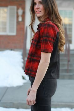 cute color-blocked button-up flannel