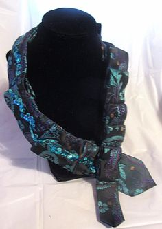 Recycled Men's Necktie NecklaceFlower Print Teal with
