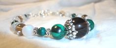 Gemstone Bracelet  Malachite  Moonstone  Genuine  by Willowette, $37.00
