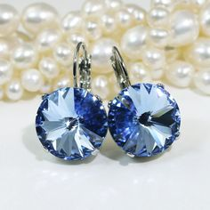 Light Blue Earrings Light Sapphire Pale Blue Crystal by TIMATIBO