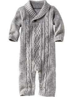 Footless Cable-Knit One-Piece for Baby