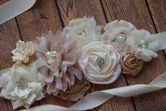 Sash natural color Sash  flower Belt maternity sash