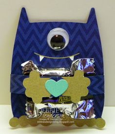 Stampin' Up! Monster Hugs Boy just in time for Valentine's. Add a piece of candy in the center, wrap the arms around the candy and secure in place. More photo's on my blog! Debbie Henderson, Debbie's Designs.