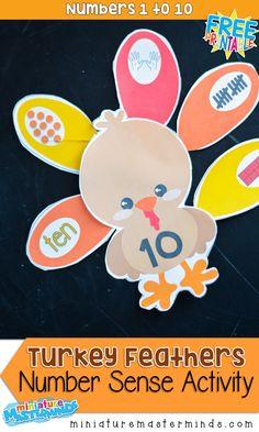 Turkey Feathers Number Sense Activity For Preschool and Kindergarten Thanksgiving Math Centers