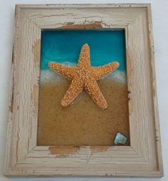 "BEACH Decor STARFISH Art - Ocean Resin Art w/ REAL Sugar Starfish - Handmade Gift for Her - Off White Distressed Wood Frame - 9"" x 7"" Size"