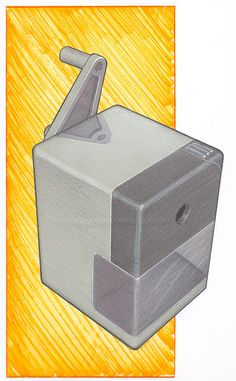 sketching of a pencil sharpener, the yellow background really stands out.