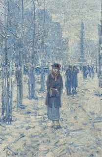 Frederick Childe Hassam - Kitty Walking in the Snow