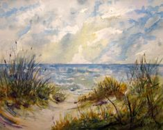 Print Of Original Beach Painting landscape artwork by RPeppers