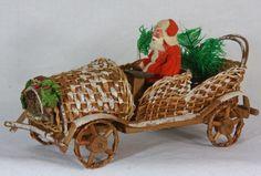 Antique German Paper Mache Santa in Wicker Car c1920