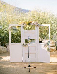 vintage door airplant ceremony backdrop