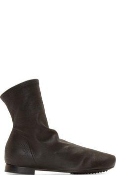 Rick Owens Black Stretch Leather Scuba Sock Boots