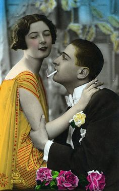 A Smoking Passion! 1920s tinted postcard