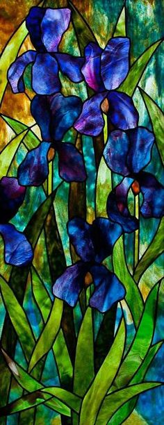 Tiffany stained glass blue irises. Quarter sleeve tattoo....other arm!!