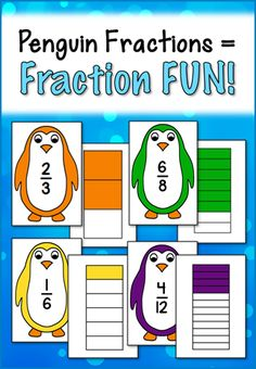 Penguin Fractions = Fraction Fun! Learn where you can find these penguin fraction activity cards and resources to go with them. Freebie included in the post! $ #LauraCandler
