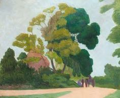 "Robert Bevan. Two Ash Trees. 1924. Painted at Mount Stephen's Cross, Luppitt, Devon. ""Just before the end Mr. Bevan had begun to soften his style by getting more variety of tone into his foliage, and by rounding the masses towards the spectator, so that less attention was drawn to the edges, and of this ""The Two Ash Trees"" and ""On Luppitt Common"" in the present exhibition are good examples."" ('Truth'. 17th February 1926. Review of an exhibition at the Goupil Gallery)."
