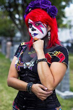 Bowie sugar skull.  Makeup by Elvia Olivarria Torres (aka Vita Loca)  @elviamakeup Photo by Joe L Botello @joe_botello