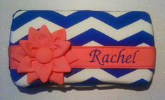 Blue Chevron, Coral Flower Diaper Wipes Case. - pinned by pin4etsy.com