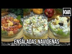 ENSALADAS NAVIDEÑAS - YouTube Comida Latina, Canapes, Sangria, Holidays And Events, Cooking Time, Acai Bowl, Potato Salad, Salad Recipes, Salads