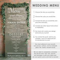 Wedding Menu Typography Sign Wall Decal   Dana Decals