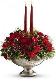 Order Teleflora's Mercury Glass Bowl Bouquet from Villere's Florist, your local Metairie florist. Send Teleflora's Mercury Glass Bowl Bouquet for fresh and fast flower delivery throughout Metairie, LA area. Christmas Flower Arrangements, Holiday Centerpieces, Christmas Flowers, Christmas Candles, Xmas Decorations, Floral Arrangements, Christmas Wreaths, Christmas Crafts, Royal Christmas
