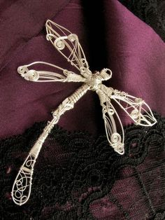 Dragonfly Pin Silver Wire Wrapped Silver Brooch by KUKLAstudio, $77.00