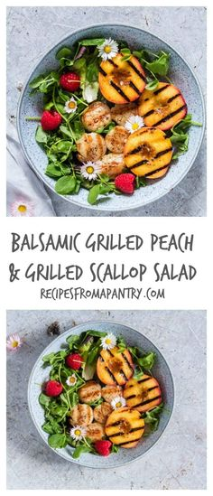 Balsamic Grilled Peach and Grilled Scallop Salad Healthy Salad Recipes, Lunch Recipes, Easy Dinner Recipes, Seafood Recipes, Appetizer Recipes, Healthy Food, Healthy Dinners, Fruit Recipes, Balsamic Vinegar Recipes