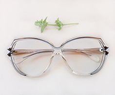 49e722928dbc 80s LANCEL Paris frames   Vintage dead stock oversized french eyeglasses   hipster  designer black white eye glasses   hand painted frames
