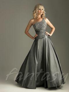 Charcoal Beaded A-line Taffeta Prom/Formal/Evening/Party/Ballgown Dress/SZ 6
