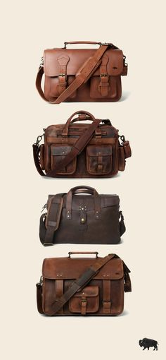 Men's vintage full-grain brown leather briefcases. Our handmade briefcases are where men's fashion meets function. With well-designed space for laptops and more, we craft briefcase bags and briefcases for men who take care of business. Briefcase For Men, Leather Briefcase, Leather Bags, Leather Satchel, Leather Men, Brown Leather, Waxed Canvas Bag, Best Gifts For Men, Camera Bags