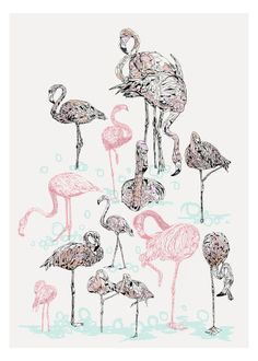 Pink Flamingos by Susie Wright | East End Prints