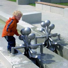 interactive public art installation - functional and aesthetically amazing - Water and Play Water Playground, Playground Design, Outdoor Playground, Interactive Installation, Interactive Art, Installation Art, Urban Landscape, Landscape Design, Parque Linear