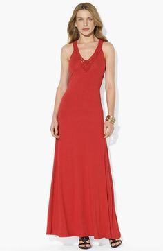 Lauren Ralph Lauren Macramé V-Neck Maxi Dress available at #Nordstrom