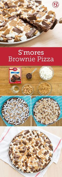 Enjoy the greatest flavor trio of all time, any time, with this gooey S'mores Brownie Pizza recipe at the ready. The buttery graham crust lends flavor and structure, making this pizza easy to cut, serve and, most importantly, eat (no fork required). Just Desserts, Delicious Desserts, Dessert Recipes, Yummy Food, Brownie Desserts, Brownie Pizza, Yummy Treats, Sweet Treats, Dessert Pizza