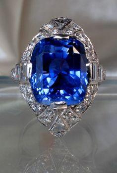 Art Deco sapphire and diamond ring, ca 1935, from Jan Havlik.
