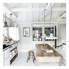 White-washed beach house open plan kitchen ❤ liked on Polyvore