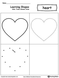 Learning Shapes: Color, Trace, Connect, and Draw a Heart: Learn the heart shape by coloring, tracing, connecting the dots and drawing with My Teaching Station printable Learning Shapes worksheet.