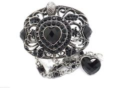 Heart Turtle Back Crystal Bangle Ring  Cuff Women Slave Bracelets Silver Plated  #Unbranded #Cuff