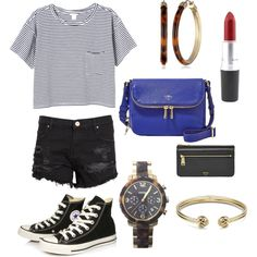 monochrome summer with colourpop accessories by rach-carswell on Polyvore featuring polyvore fashion style Monki Zoe Karssen Converse FOSSIL
