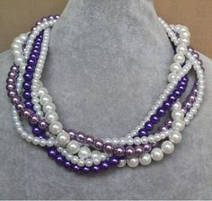 purple lavender white pearl necklace five by glasspearlstore