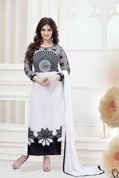 White Georgette Designer Salwar Kameez with Dupatta