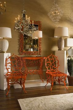 Corail Chairs, Console And Mirror By Marjorie Skouras Coral Chair, Red  Chairs, Sideboard