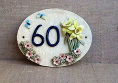 Daffodil house number plaque ceramic address plate by Sallyamoss, Door Numbers, House Numbers, House Number Plates, Address Plaque, Play Clay, Stoneware Clay, Daffodils, Sculpture Clay, Wrap