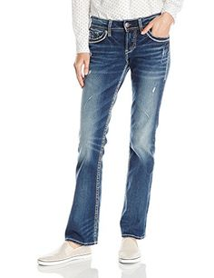 Silver Jeans Women's Suki Mid Rise Slim Bootcut Jean with-$75.50