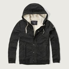 Abercrombie & Fitch Terry Lined Hoodie Jacket ($120) ❤ liked on Polyvore featuring men's fashion, men's clothing, men's outerwear, men's jackets, heather black and mens zip up jacket
